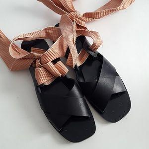 zara lace up sandals size 9